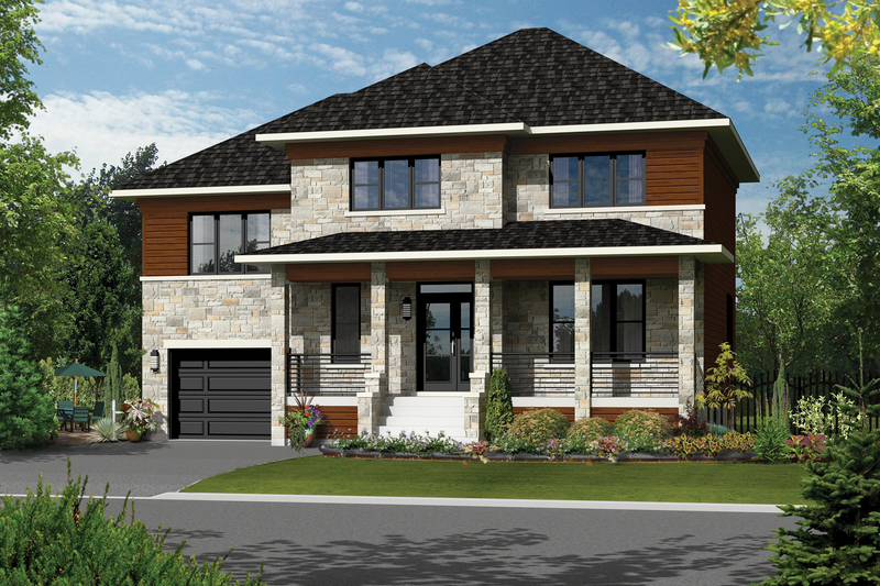 Contemporary Style House Plan - 3 Beds 1.5 Baths 2080 Sq/Ft Plan #25-4309 Exterior - Front Elevation