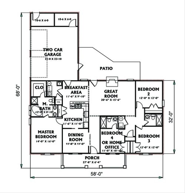Ranch Floor Plan - Main Floor Plan Plan #44-117