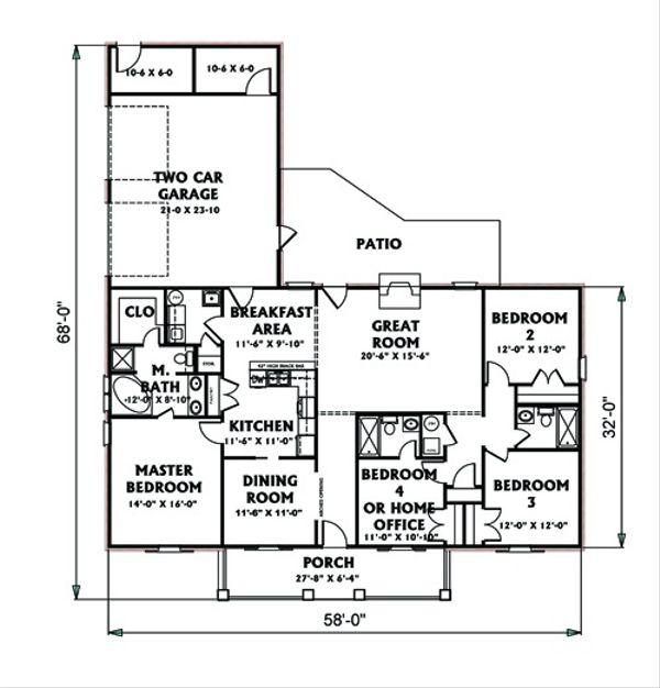 Ranch Floor Plan - Main Floor Plan Plan #44-117