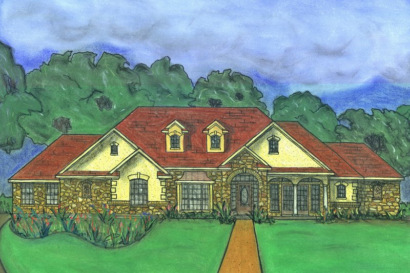 Traditional Style House Plan - 4 Beds 2.5 Baths 2661 Sq/Ft Plan #80-169 Exterior - Front Elevation