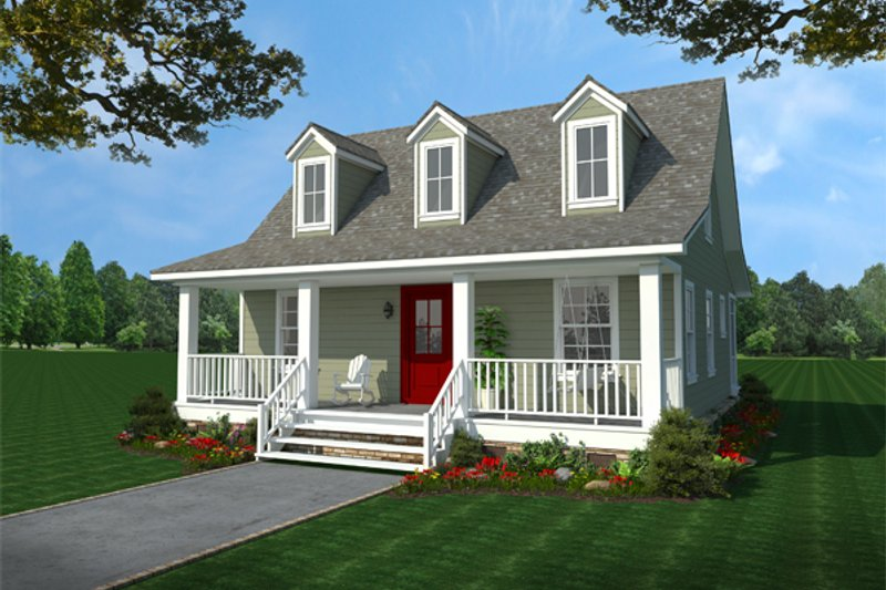 Country Style House Plan - 2 Beds 1 Baths 1297 Sq/Ft Plan #21-397 Exterior - Front Elevation