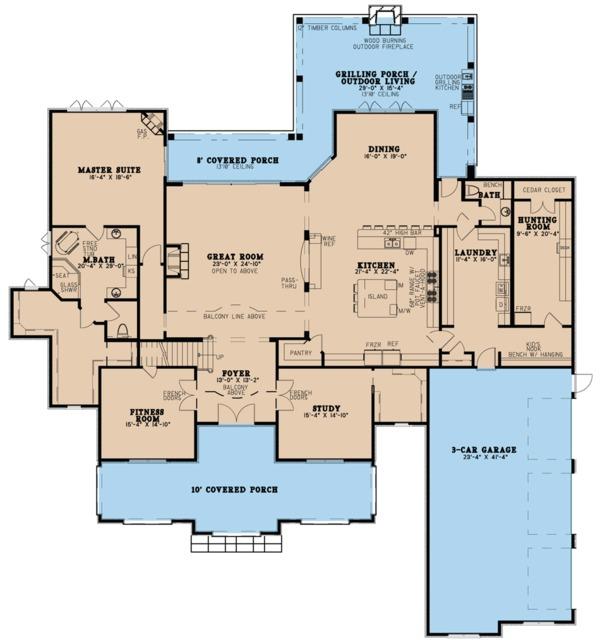 European Floor Plan - Main Floor Plan Plan #923-78
