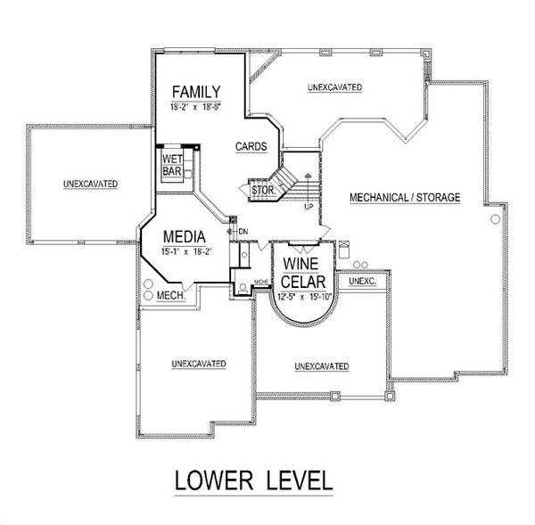 European Floor Plan - Lower Floor Plan Plan #458-21