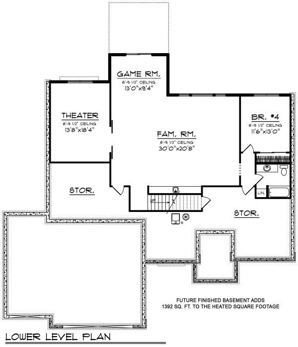 Ranch Floor Plan - Lower Floor Plan #70-1498