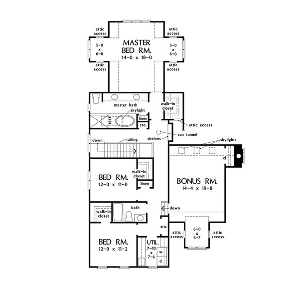 Traditional Floor Plan - Upper Floor Plan Plan #929-1073