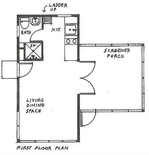 Cottage Floor Plan - Main Floor Plan Plan #510-1