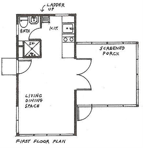 Cottage Floor Plan - Main Floor Plan #510-1
