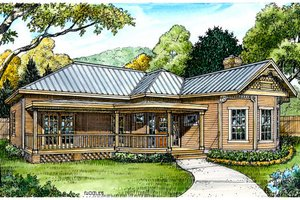 Cottage Exterior - Front Elevation Plan #140-141