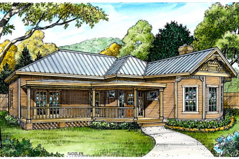 Cottage Style House Plan - 2 Beds 2 Baths 1642 Sq/Ft Plan #140-141 Exterior - Front Elevation