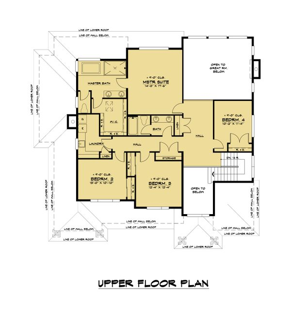 Contemporary Floor Plan - Upper Floor Plan Plan #1066-121