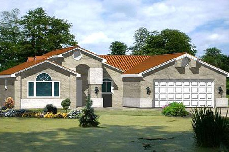 Mediterranean Style House Plan - 2 Beds 2 Baths 1184 Sq/Ft Plan #1-196 Exterior - Front Elevation
