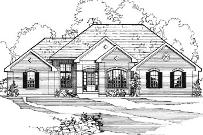 European Style House Plan - 3 Beds 2 Baths 3085 Sq/Ft Plan #31-111 Exterior - Front Elevation