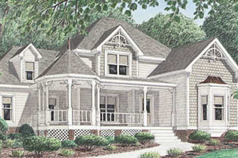 Victorian Style House Plan - 3 Beds 2.5 Baths 2044 Sq/Ft Plan #34-111 Exterior - Front Elevation