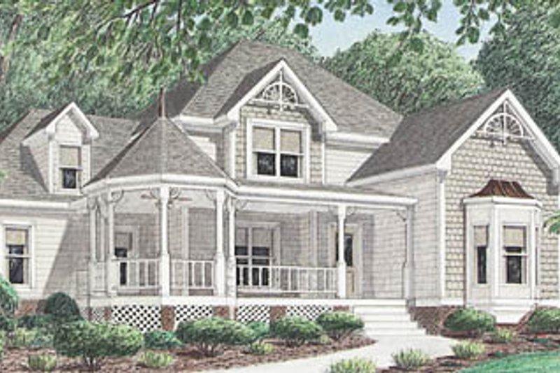 Architectural House Design - Victorian Exterior - Front Elevation Plan #34-111