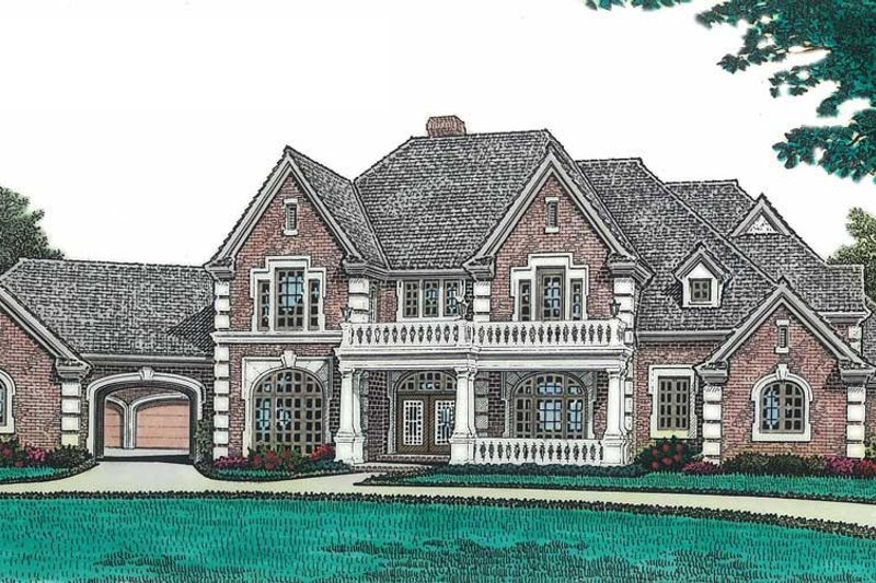 European Style House Plan - 5 Beds 5 Baths 5895 Sq/Ft Plan #310-670 Exterior - Front Elevation