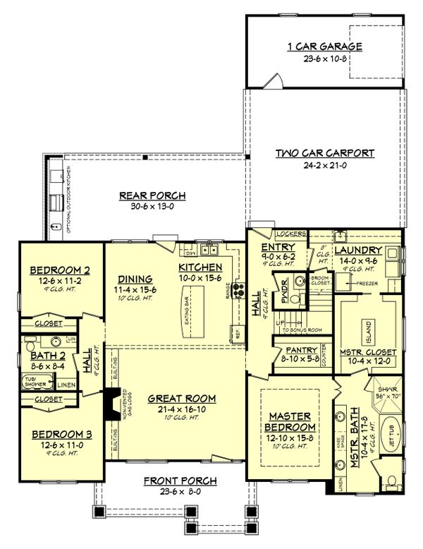 Craftsman Style House Plan - 3 Beds 2.5 Baths 2151 Sq/Ft Plan #430-141 Floor Plan - Main Floor Plan