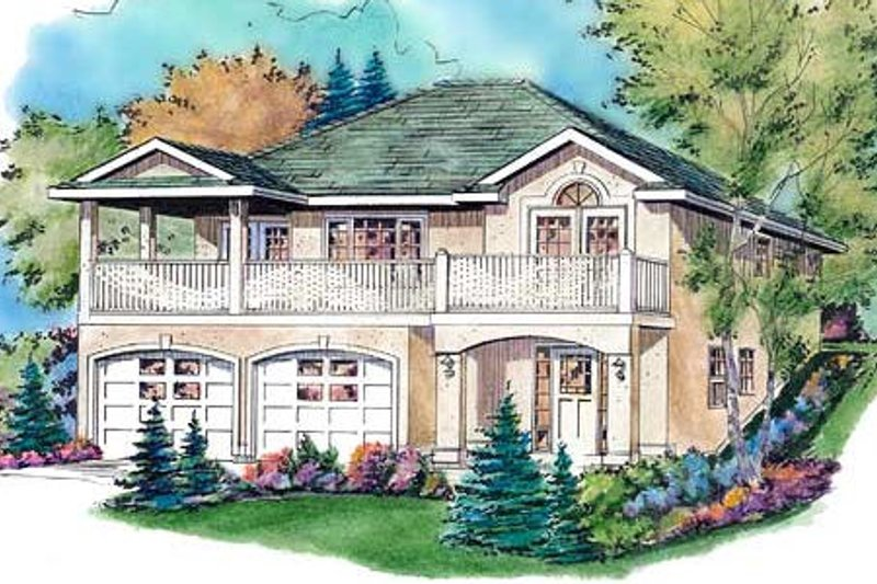 European Exterior - Front Elevation Plan #18-1008