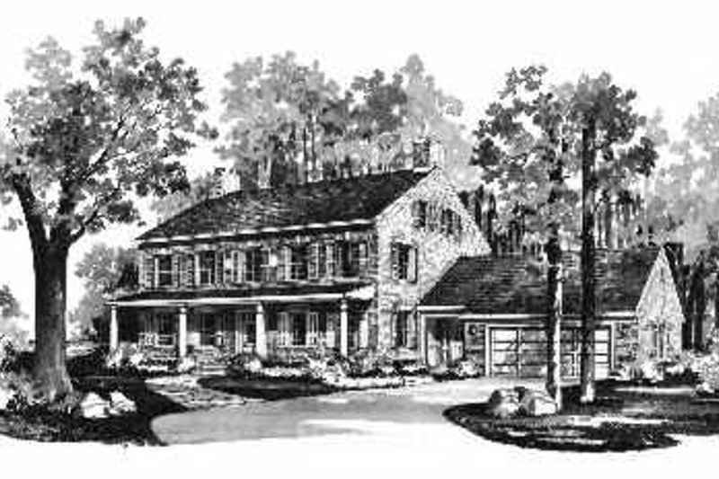 House Blueprint - Colonial Exterior - Front Elevation Plan #72-353