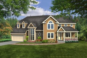 Country Exterior - Front Elevation Plan #456-21