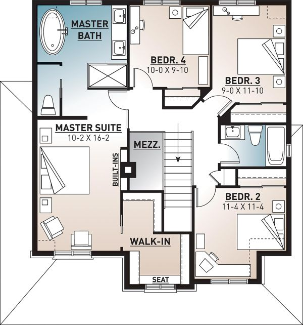 Farmhouse Floor Plan - Upper Floor Plan Plan #23-864