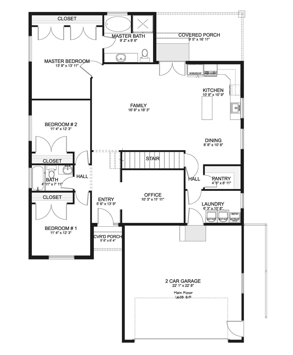 Ranch Style House Plan - 3 Beds 2 Baths 1635 Sq/Ft Plan ... on 1 1 2 story house plans, 5-story house plans, country style house plans,
