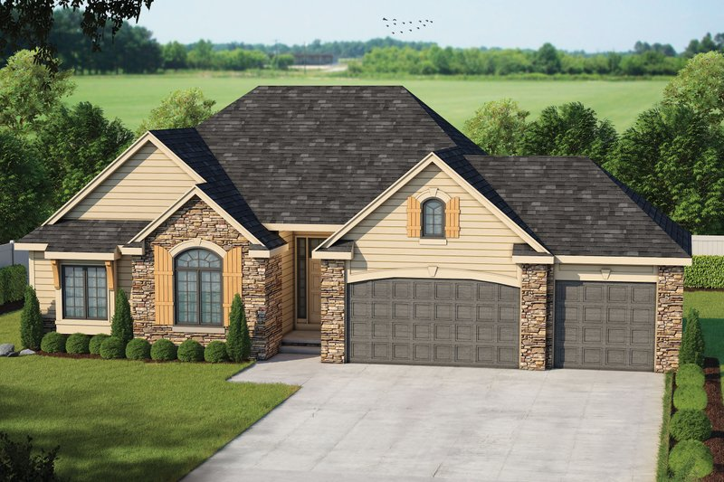 Traditional Style House Plan - 3 Beds 2.5 Baths 1763 Sq/Ft Plan #20-2123 Exterior - Front Elevation