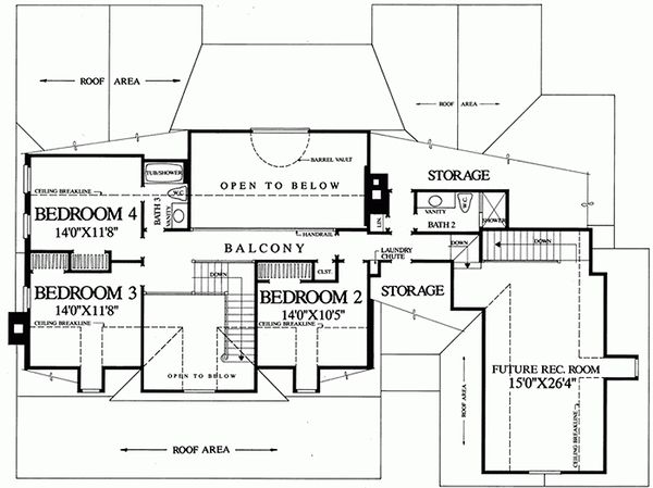 Southern Floor Plan - Upper Floor Plan Plan #137-185
