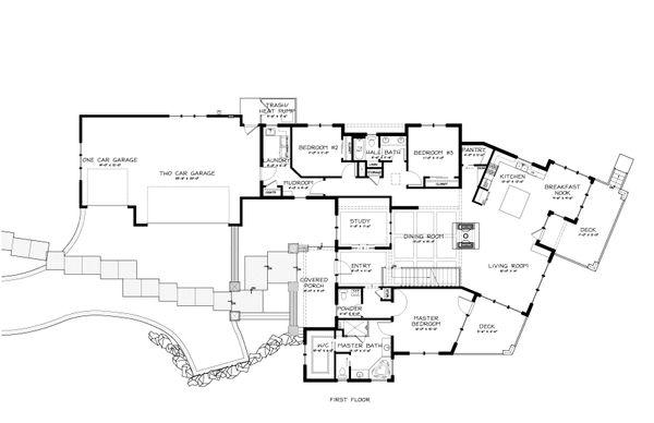 Prairie Style House Plan - 3 Beds 2.5 Baths 3095 Sq/Ft Plan #895-7 Floor Plan - Main Floor Plan