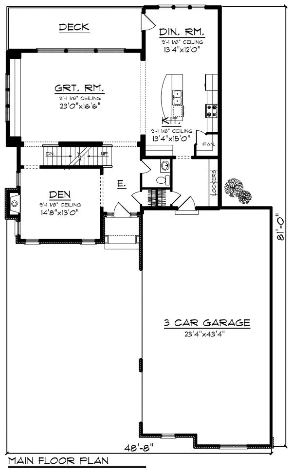 European Floor Plan - Main Floor Plan Plan #70-1174