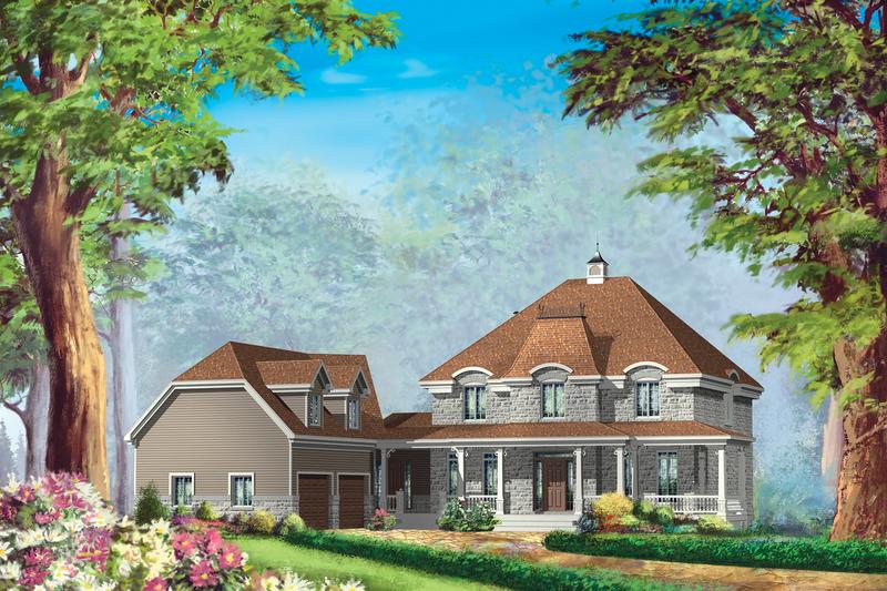 European Style House Plan - 4 Beds 2 Baths 3422 Sq/Ft Plan #25-4799
