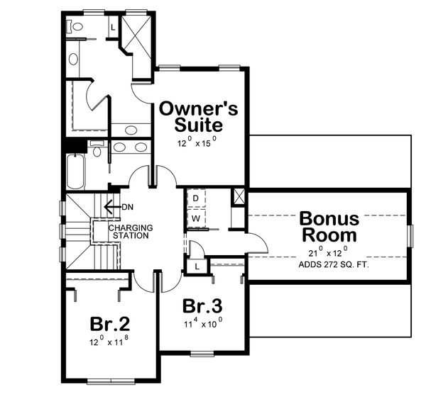Traditional Floor Plan - Upper Floor Plan Plan #20-2263