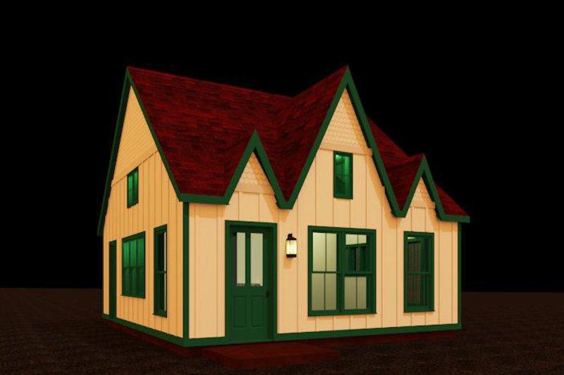 European Style House Plan - 1 Beds 1 Baths 484 Sq/Ft Plan #917-34