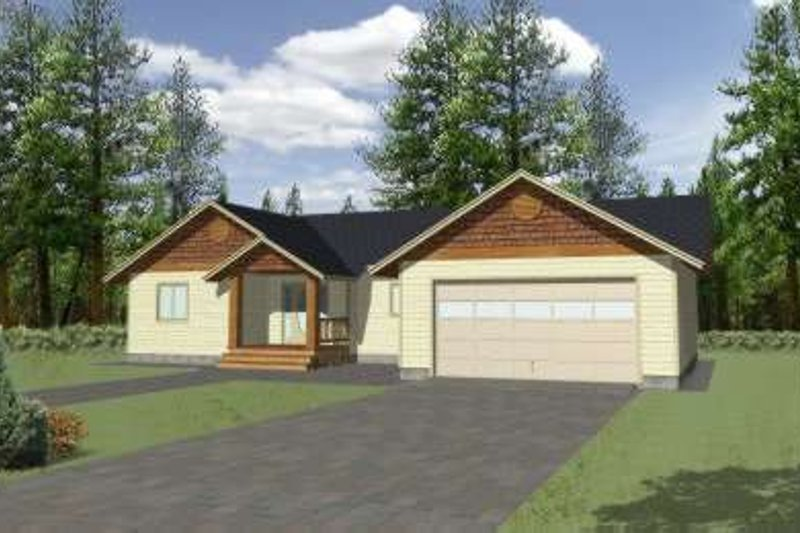 Ranch Style House Plan - 3 Beds 2 Baths 1350 Sq/Ft Plan #117-363 Exterior - Front Elevation