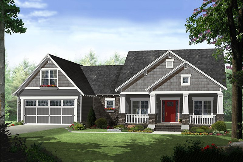 Craftsman Style House Plan - 4 Beds 2.5 Baths 2284 Sq/Ft Plan #21-341 Exterior - Front Elevation