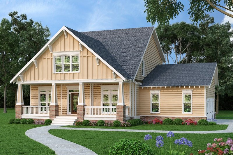 Craftsman Style House Plan - 4 Beds 2.5 Baths 2855 Sq/Ft Plan #419-282 Exterior - Front Elevation