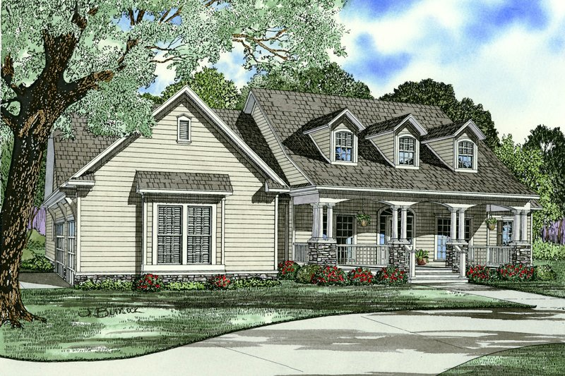 Southern Exterior - Front Elevation Plan #17-2587