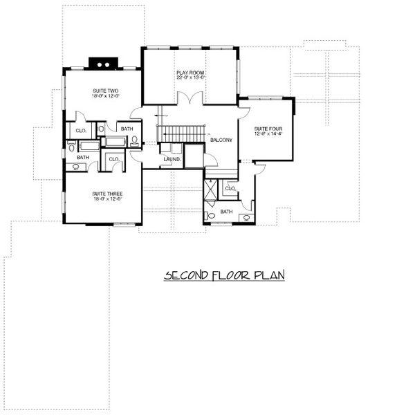 European Floor Plan - Upper Floor Plan Plan #413-890