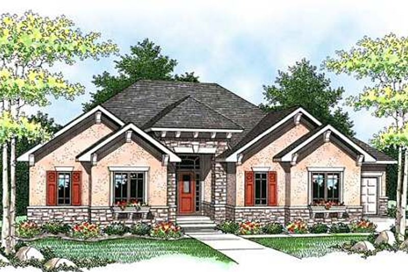 Dream House Plan - Craftsman Exterior - Front Elevation Plan #70-924