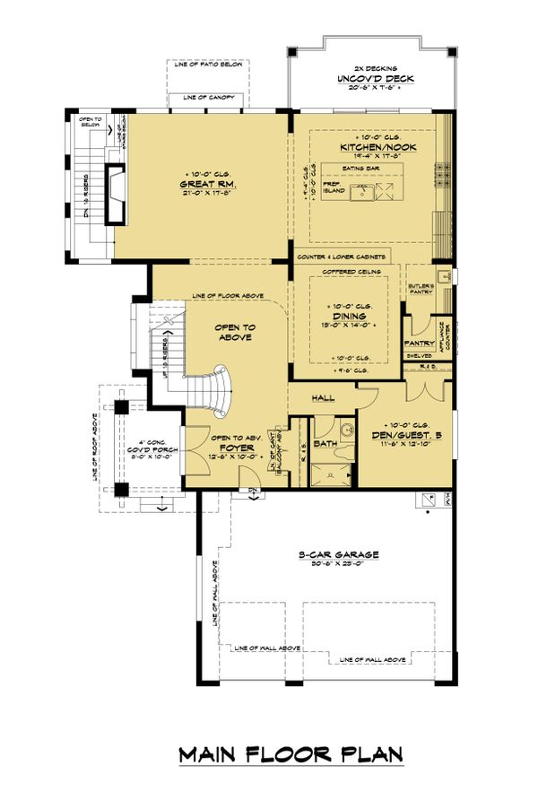 Contemporary Floor Plan - Main Floor Plan Plan #1066-118