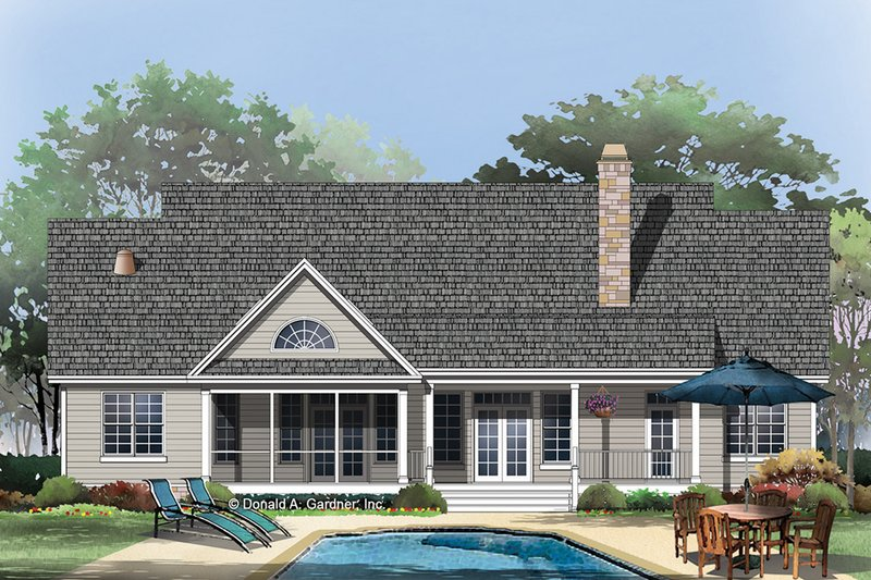 Country Exterior - Rear Elevation Plan #929-46 - Houseplans.com