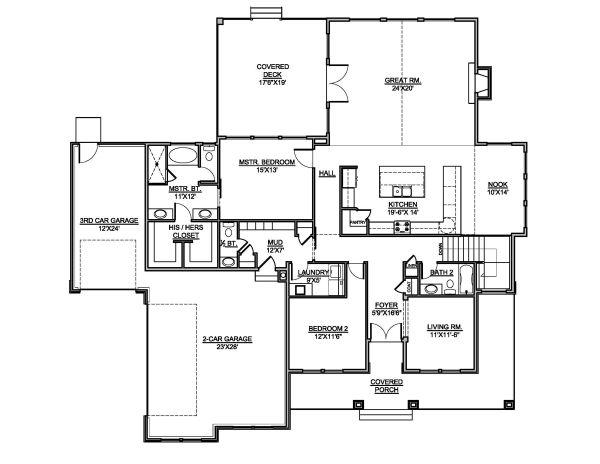 Traditional Floor Plan - Main Floor Plan Plan #1073-2