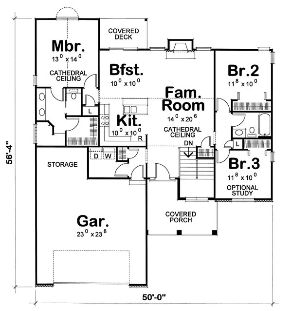 Architectural House Design - Traditional Floor Plan - Main Floor Plan #20-1666
