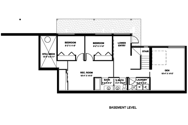 Modern Floor Plan - Lower Floor Plan #498-1