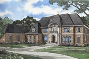 European Style House Plan - 4 Beds 5 Baths 7338 Sq/Ft Plan #17-2278 Exterior - Front Elevation
