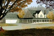 Country Style House Plan - 4 Beds 4 Baths 3240 Sq/Ft Plan #1-802 Exterior - Front Elevation
