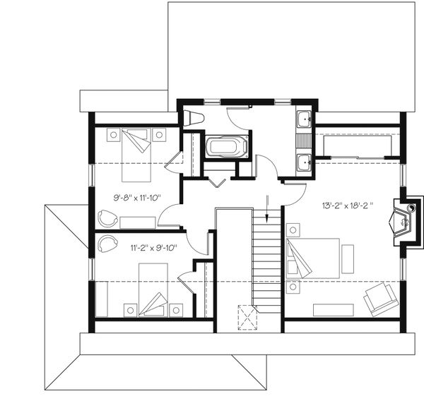 Country Floor Plan - Upper Floor Plan Plan #23-2669