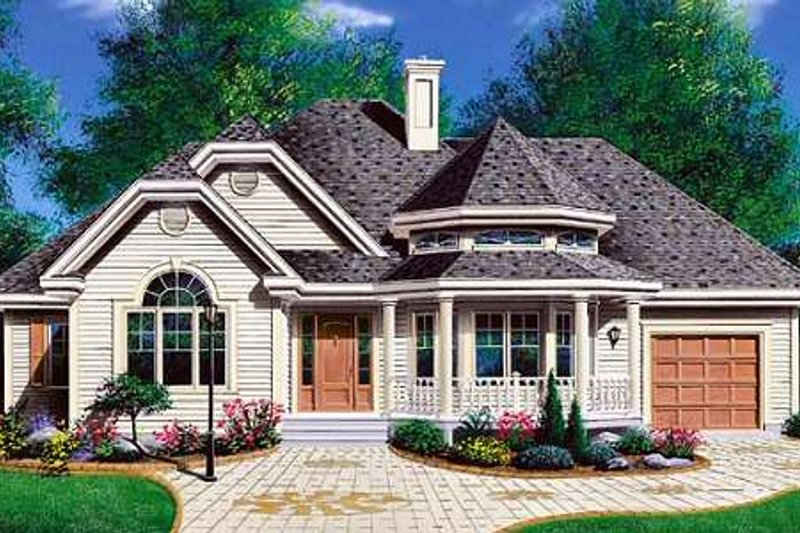 Traditional Style House Plan - 3 Beds 1 Baths 1370 Sq/Ft Plan #23-137 Exterior - Front Elevation