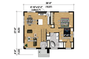Contemporary Style House Plan - 2 Beds 1 Baths 972 Sq/Ft Plan #25-4312 Floor Plan - Main Floor Plan