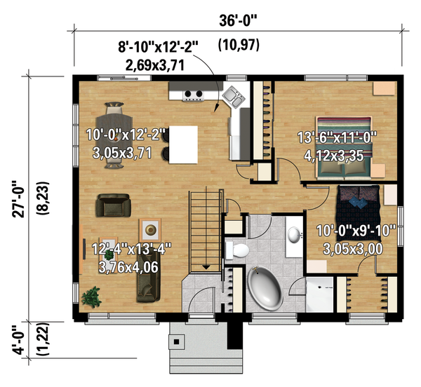 Contemporary Floor Plan - Main Floor Plan Plan #25-4312
