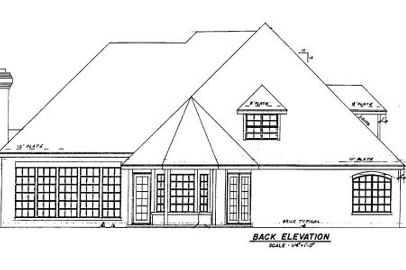 European Exterior - Rear Elevation Plan #52-134 - Houseplans.com